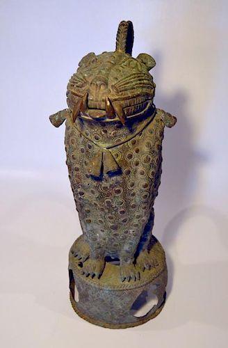 Painted Bronze Leopard Form Urn