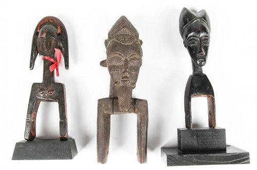 3 African Carved Wood Heddle Pulleys