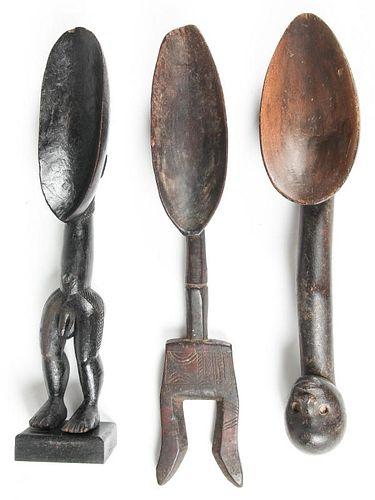 3 African Dan Granary Spoons