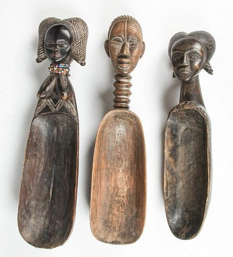 3 African Granary Spoons