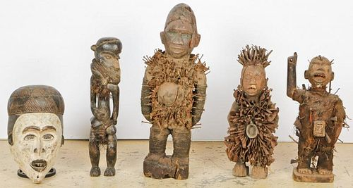 5 African Congolese Carved Wood Artifacts