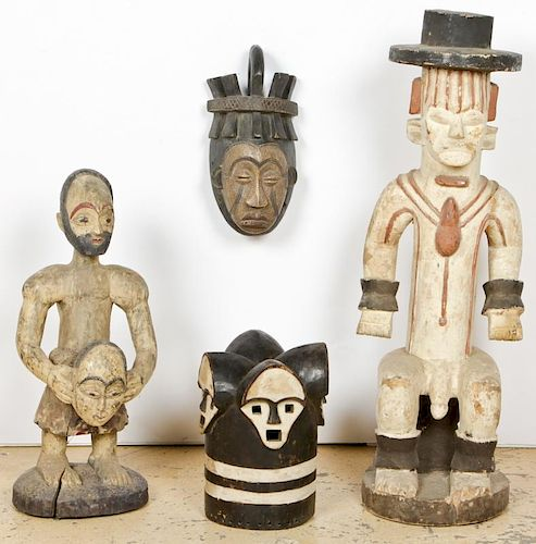 4 African Carved Wood Igbo Artifacts