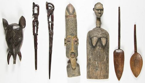 7 African Carved Wood Artifacts
