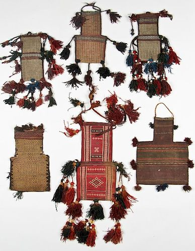 6 Antique Central Asian Trappings/Saltbags
