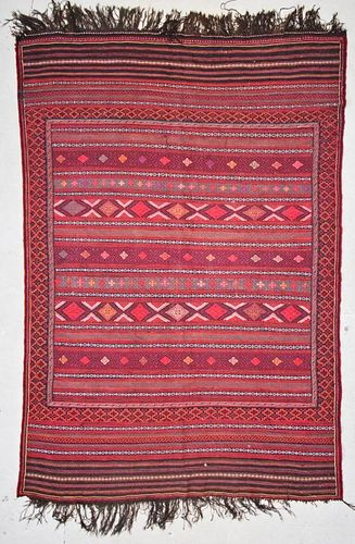 Vintage Afghan Kilim: 6'7'' x 9'3'' (201 x 282 cm)