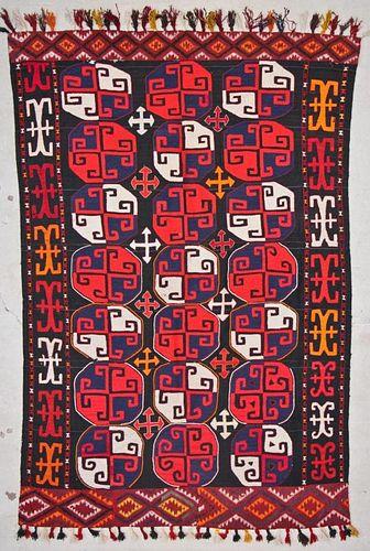 Vintage Central Asian Kilim: 5'0'' x 7'1'' (152 x 216 cm)