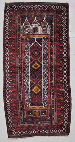 Vintage Beluch Rug: 3'3'' x 6'3'' (99 x 191 cm)