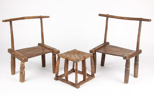 Group of 2 Old West African Chairs and Stool