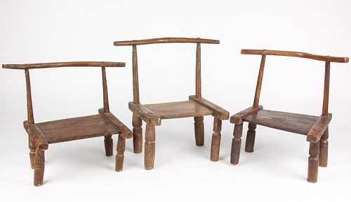 Group of 3 Old West African Chairs