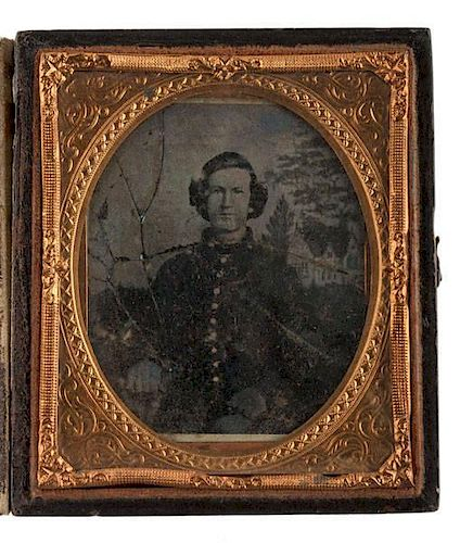 Sixth Plate Ambrotype of Confederate Soldier, With Gabled House