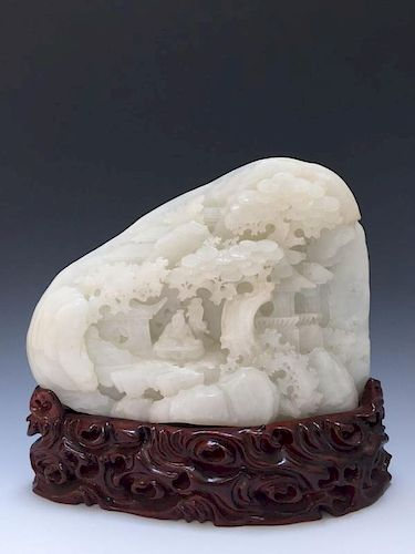 A VERY FINE LARGE CARVED HETIAN WHITE JADE SCHOLARS BOULDER MOUNTAIN