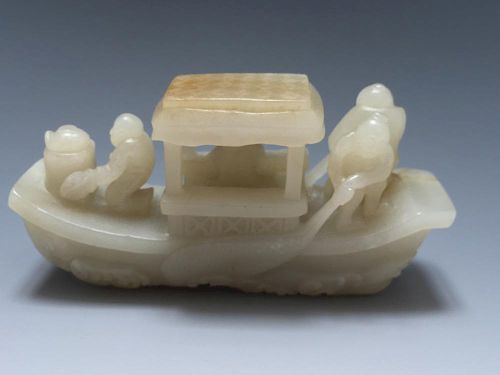 CHINESE ANTIQUE JADE BOAT DECORATION