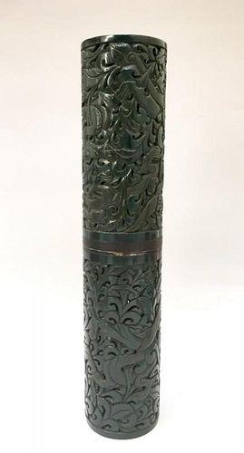 A GREEN JADE INCENSE HOLDER 19TH CENTURY