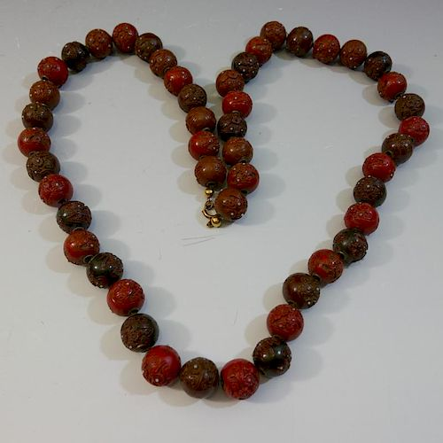 RARE LARGE ASIAN CARVED LACQUER OJIME BEADS NECKLACE