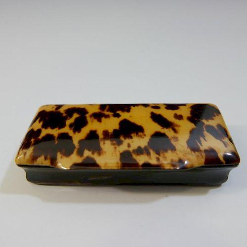 ANTIQUE ENGLISH TORTOISE SHELL SNUFF BOX - 18TH CENTURY