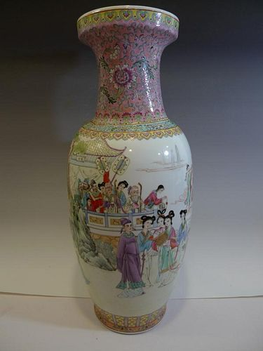 HUGE CHINESE ANTIQUE FAMILLE ROSE PORCELAIN VASE - REPUBLIC PERIOD