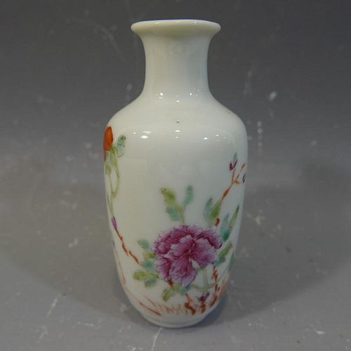 ANTIQUE CHINESE FAMILLE ROSE PORCELAIN VASE - REPUBLIC PERIOD