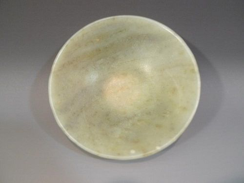 ANTIQUE CHINESE CARVED HETIAN JADE BOWL - QING DYNASTY