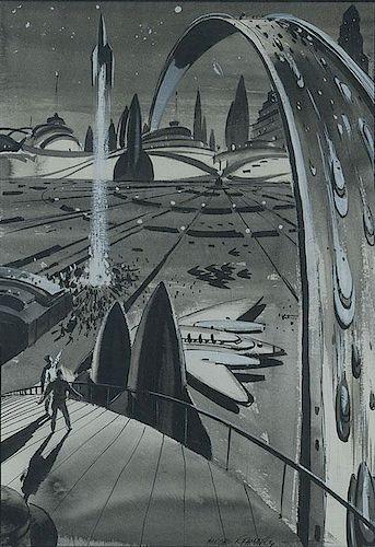 Futuristic Cityscape with Rocket Ship Port
