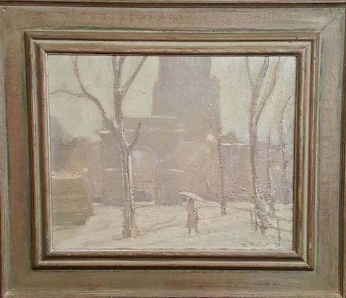 Bela de Tirefort (1894-1993) New York Winter Snow Painting
