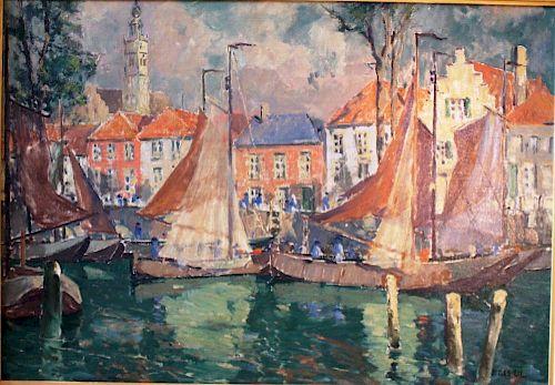 Jonas Lie (1880-1940) Harbor Painting