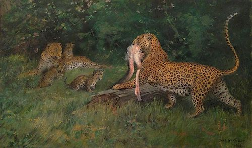 Charles Knight (1874 -1953) Leopard with Flamingo Wildlife painting