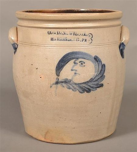 Cowden & Wilcox Man-in-the-Moon Crock.