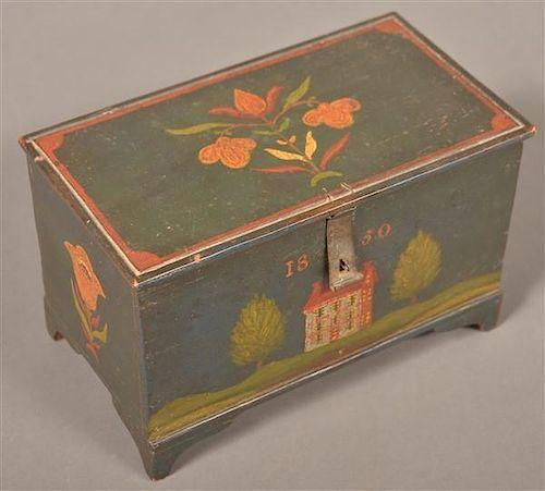 Jonas Weber Painted Trinket Box Dated 1850.