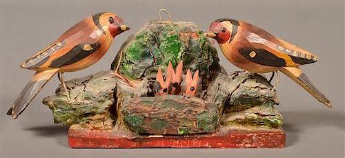Late 19 Century Folk Art Carving of Nesting Birds.
