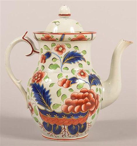 """Rare Gaudy Dutch """"War Bonnet"""" Coffee Pot."""