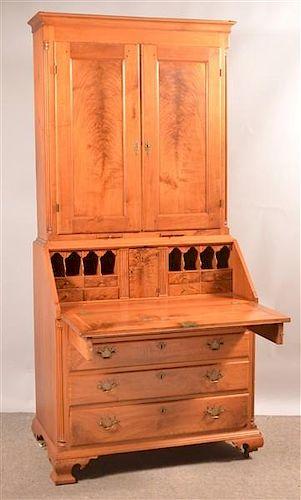 PA Chippendale Walnut Slat-lid Secretary Desk.