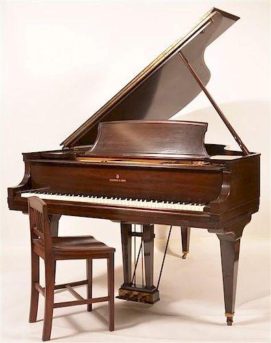 Steinway Mahogany Baby Grand Piano, C. 1931.