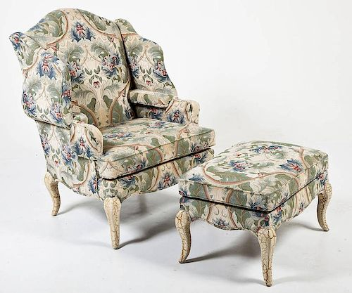 Pearson French Style Chair & Ottoman