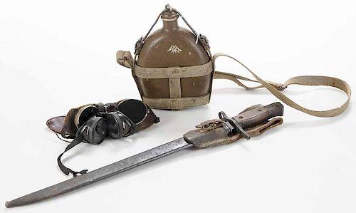 Bayonet, Goggles, Canteen