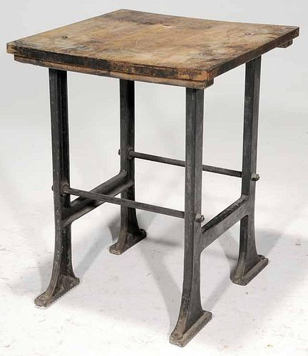 Vintage French Oak and Cast iron Lithographer's Table