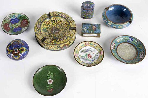 Nine Small Cloisonné Items
