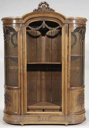Napolean III Louis XVI Style Neoclassical Carved Oak Grille-Door Cabinet
