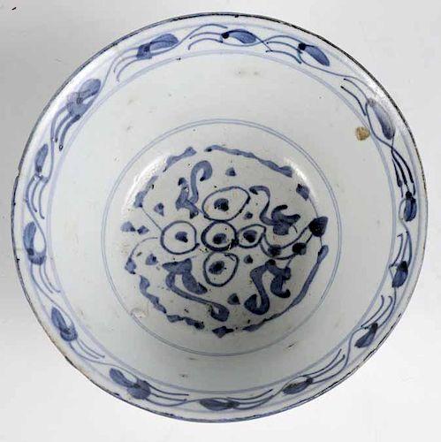 Chinese Blue and White Stoneware Bowl