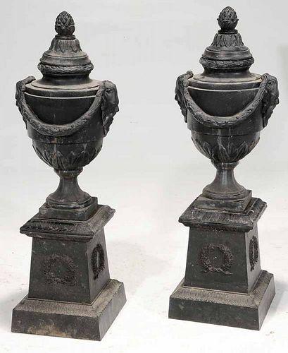 Pair Black-Painted Cast Iron Lidded