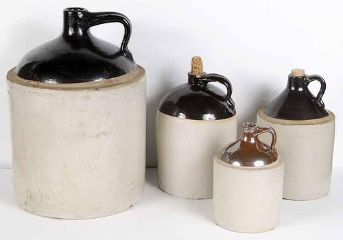 """Four Brown and White """"Whiskey"""" Jugs"""