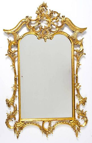 English Chinese Chippendale Revival Formal Mirror