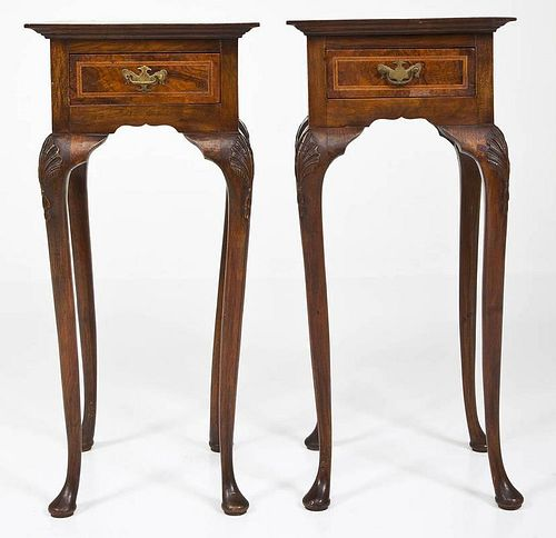 Pair of Queen Anne Revival Fern or Side Tables