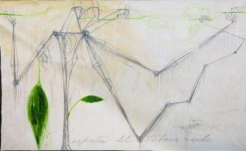 Jose Bedia Valdes (1959-) Cuban Painting Cigars Tobacco Theme