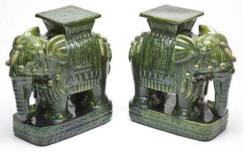 Pair Chinese Green Glazed Elephant Garden Stools