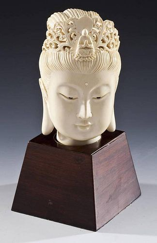 Ivory Head of Guanyin on Wooden Base