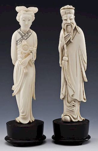 Pair of Carved Ivory Figures