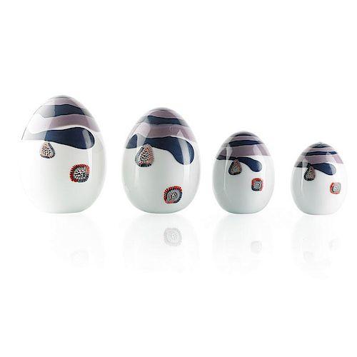 LINO TAGLIAPIETRA Four glass eggs