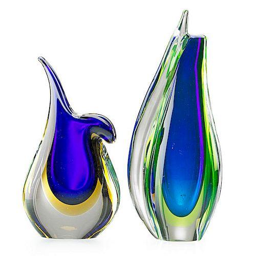FLAVIO POLI Two glass vases