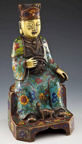 Modern Gilded Brass and Cloisonne Seated Buddha