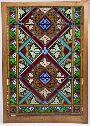 19th C Stained Glass Church Window